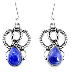 6.31cts natural blue lapis lazuli 925 sterling silver dangle earrings p13267