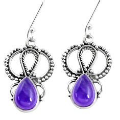 6.04cts natural purple amethyst 925 sterling silver dangle earrings p13272