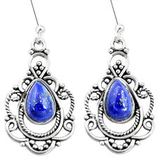 4.38cts natural blue lapis lazuli 925 sterling silver dangle earrings p13284