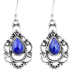 925 sterling silver 4.37cts natural blue lapis lazuli dangle earrings p13285