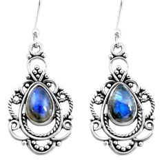 925 sterling silver 4.73cts natural blue labradorite dangle earrings p13296