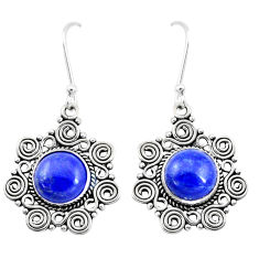 10.33cts natural blue lapis lazuli 925 sterling silver dangle earrings p13326