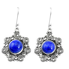 925 sterling silver 10.54cts natural blue lapis lazuli dangle earrings p13328