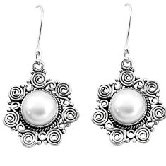 11.14cts natural white pearl 925 sterling silver dangle earrings jewelry p13340