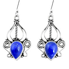 7.07cts natural blue lapis lazuli 925 sterling silver dangle earrings p13341