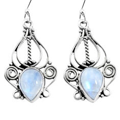 925 sterling silver 6.98cts natural rainbow moonstone dangle earrings p13352
