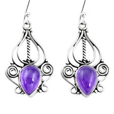 6.58cts natural purple amethyst 925 sterling silver dangle earrings p13360