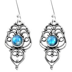 3.41cts natural blue labradorite 925 sterling silver dangle earrings p13362