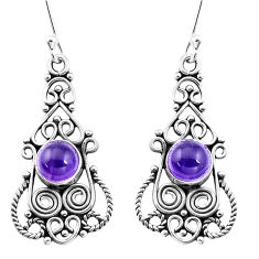 3.42cts natural purple amethyst 925 sterling silver dangle earrings p13381