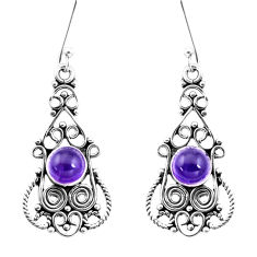 3.27cts natural purple amethyst 925 sterling silver dangle earrings p13383