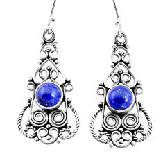 925 sterling silver 3.42cts natural blue lapis lazuli dangle earrings p13384