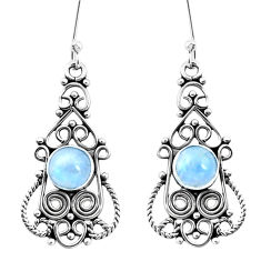 3.26cts natural rainbow moonstone 925 sterling silver dangle earrings p13385
