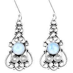 3.43cts natural rainbow moonstone 925 sterling silver dangle earrings p13386
