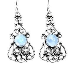 925 sterling silver 3.27cts natural rainbow moonstone dangle earrings p13387