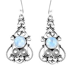 3.17cts natural rainbow moonstone 925 sterling silver dangle earrings p13388