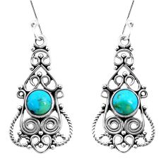 3.04cts green arizona mohave turquoise 925 silver dangle earrings p13389