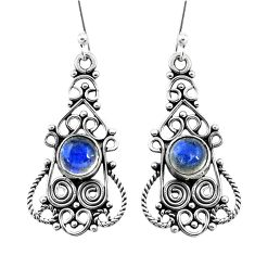925 sterling silver 3.18cts natural blue labradorite dangle earrings p13390
