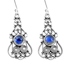 3.41cts natural blue labradorite 925 sterling silver dangle earrings p13391