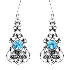 3.18cts natural blue topaz 925 sterling silver dangle earrings jewelry p13392