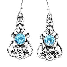 925 sterling silver 3.18cts natural blue topaz dangle earrings jewelry p13393