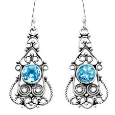 925 sterling silver 3.42cts natural blue topaz dangle earrings jewelry p13396