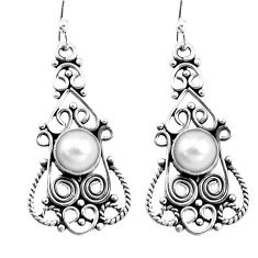 3.26cts natural white pearl 925 sterling silver dangle earrings jewelry p13399