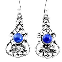 925 sterling silver 3.42cts natural blue lapis lazuli dangle earrings p13400