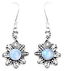 3.43cts natural rainbow moonstone 925 sterling silver dangle earrings p13422