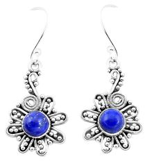 3.31cts natural blue lapis lazuli 925 sterling silver dangle earrings p13425