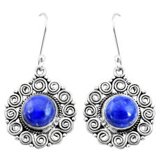 11.54cts natural blue lapis lazuli 925 sterling silver dangle earrings p13442