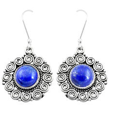 11.22cts natural blue lapis lazuli 925 sterling silver dangle earrings p13443