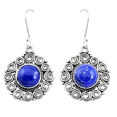 11.83cts natural blue lapis lazuli 925 sterling silver dangle earrings p13445