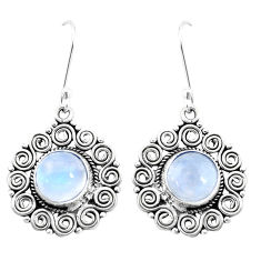 11.54cts natural rainbow moonstone 925 sterling silver dangle earrings p13453