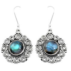 11.45cts natural blue labradorite 925 sterling silver dangle earrings p13454