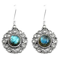 925 sterling silver 11.22cts natural blue labradorite dangle earrings p13455