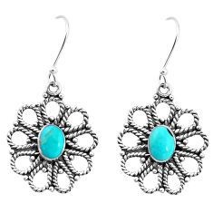 3.53cts green arizona mohave turquoise 925 silver dangle earrings jewelry p13461