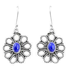 3.77cts natural blue lapis lazuli 925 sterling silver dangle earrings p13466