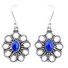925 sterling silver 3.02cts natural blue lapis lazuli dangle earrings p13468