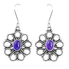 3.41cts natural purple amethyst 925 sterling silver dangle earrings p13471