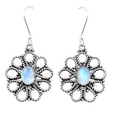 3.53cts natural rainbow moonstone 925 sterling silver dangle earrings p13480