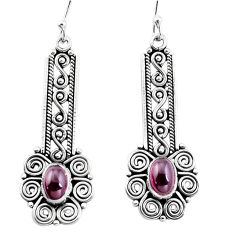 925 sterling silver 3.35cts natural red garnet dangle earrings jewelry p13488