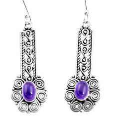 3.35cts natural purple amethyst 925 sterling silver dangle earrings p13491