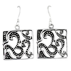 Indonesian bali java island 925 silver dangle symbol of god om earrings p1368