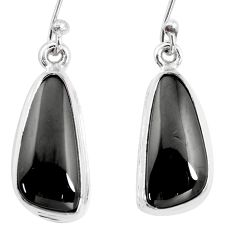 10.78cts natural black shungite 925 sterling silver dangle earrings p13681