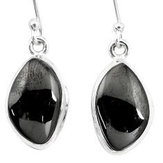 10.78cts natural shungite 925 sterling silver dangle earrings p13685