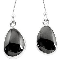 10.78cts natural shungite 925 sterling silver dangle earrings p13686