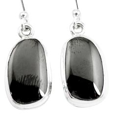 9.98cts natural shungite 925 sterling silver dangle earrings p13690