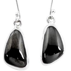 11.66cts natural shungite 925 sterling silver dangle earrings p13694