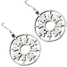 Circle round tree 925 sterling plain silver dangle earrings p1405