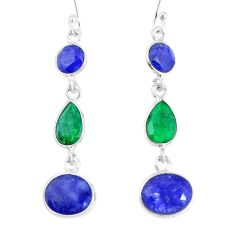 12.54cts natural blue sapphire green emerald 925 silver dangle earrings p14147